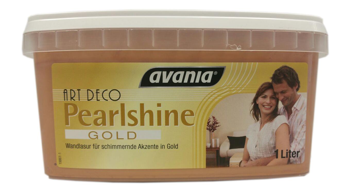 Avania ART Deco Gold Metallic Effect Farbe  Pearlshine Gold Wandlasur für Schimmernde Akzente in Gold 1 Liter Seidenglänzend