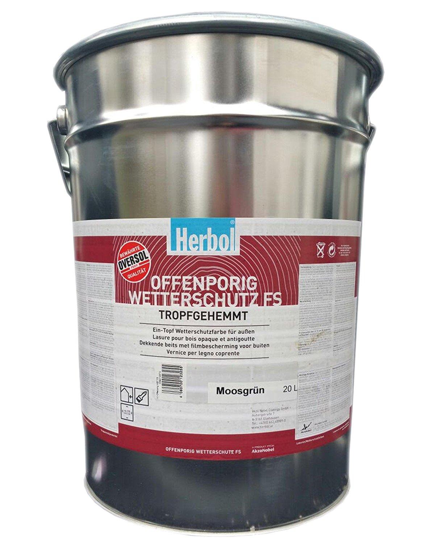 Herbol Offenporig Wetterschutzfarbe FS Seidengläzend  (Moosgrün) 20 Liter